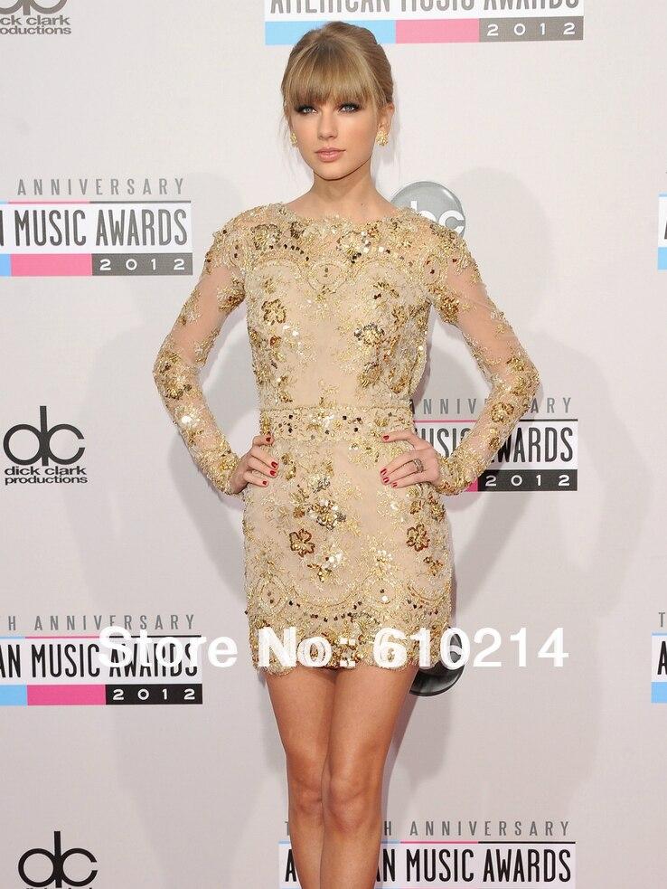 Gold Long Sleeve Lace Dress