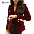 ShowMi Women Blazers and Jackets Feminino 2017 Autumn Winter Warm WineRed Black Double Breasted Ladies Velvet Blazer Women