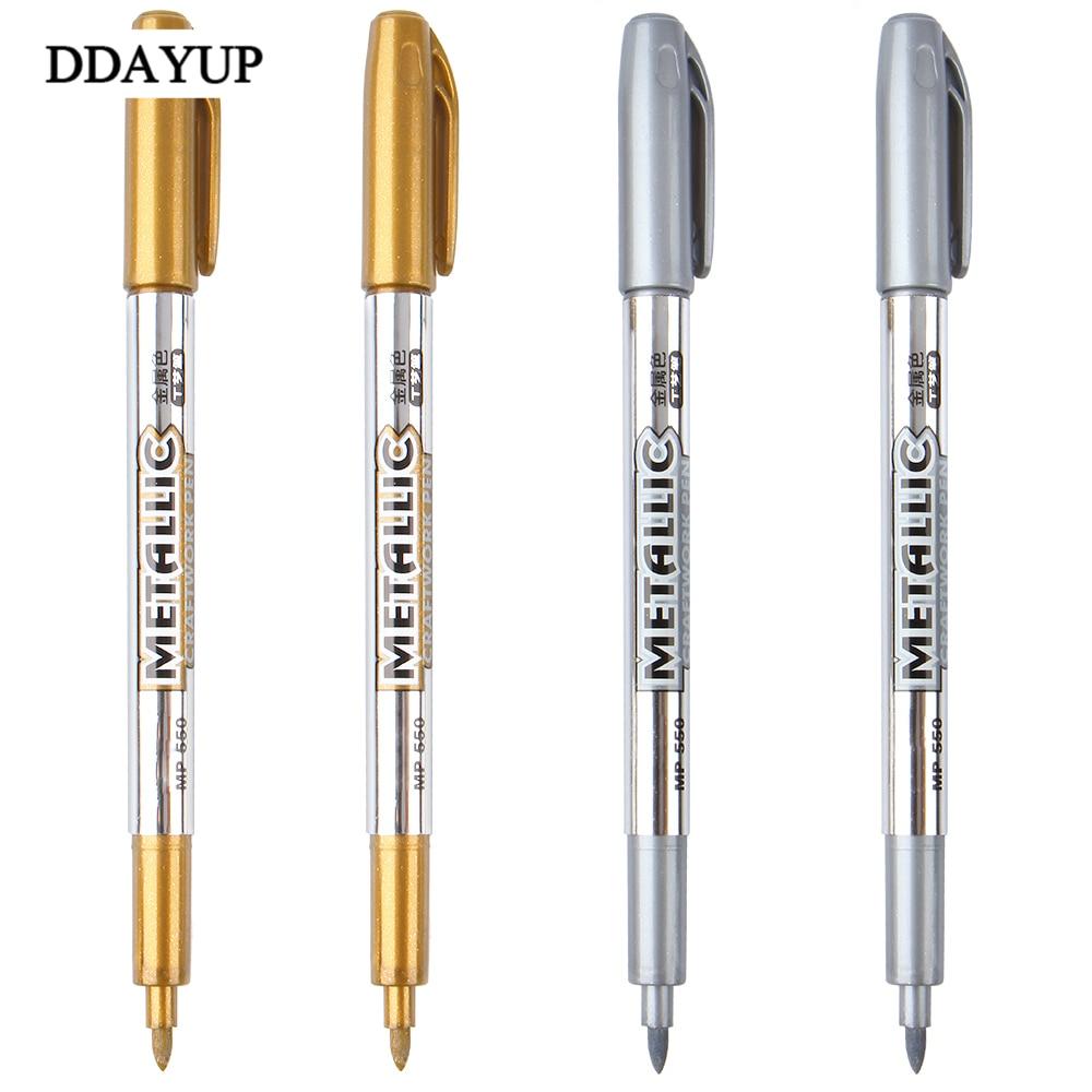 Caneta Marcador de Caneta de Tinta a óleo Cor de Metal Ouro E Prata 1.5mm Up Tecnologia de tinta caneta Suprimentos para Estudantes