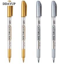 Oil Paint Pen Marker Pen Metal Color Gold And Silver 1.5mm Up Paint technology pen Student Supplies