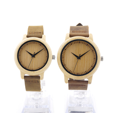 BOBO BIRD Round Bamboo Wooden Wristwatch Japan Movement 2035 Quartz Watch for Couple Men 43mm Dial Women 38mm Dial in Gift Box