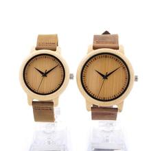 BOBO BIRD Round Bamboo Wooden Wristwatch Japan Movement 2035 Quartz Watch for Couple Men 43mm Dial Women 38mm Dial in Gift Box