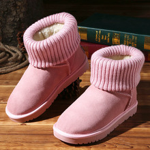 Winter Snow Boots Flock Cowhide Thick Thermal Flat Student Cotton-Padded Shoes Female Wool Cashmere Blends