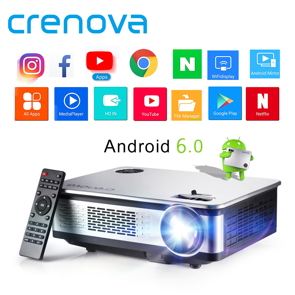 CRENOVA High Quality Android Projector For Home Theater System Movie Video Projector With Android 6 1