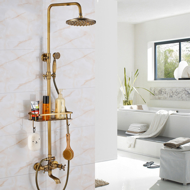 Uythner Shower Set Wall Mounted Antique Brass 8 Inch Round Rainfall Shower Head Wide Tub Spout Brass Hand Sprayer Mixer Tap