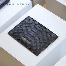 Hiram Beron Unisex Leather Card Holder RFID Blocking Python & Lamb Skin Credit Card Wallet Men & Women Custom Short ID Holder