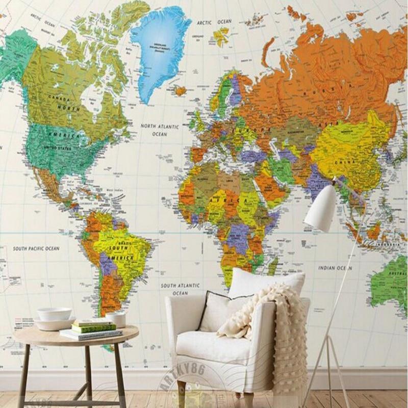 Beibehang World Map Custom Any Size Wallpaper 3d Living