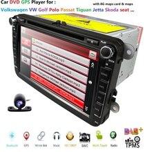 Оптовая продажа 2 din 8 дюймов DVD плеер автомобиля для VW/Volkswagen/Passat/поло/Гольф/Skoda/Seat/Леон с gps-навигация SWC BT Бесплатная камера