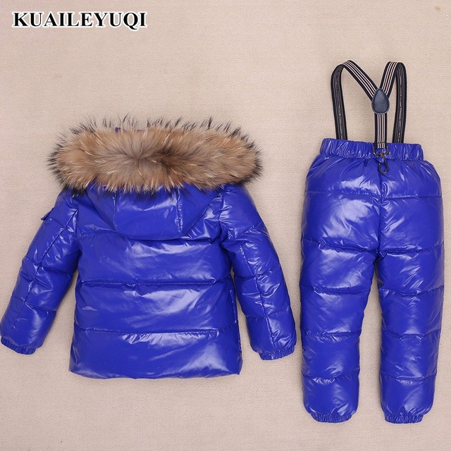 Children  Clothing Sets Winter -30 Degree Russian Boys Ski Suit Down Jacket for Girl clothes + Pants Thicker baby parka real fur