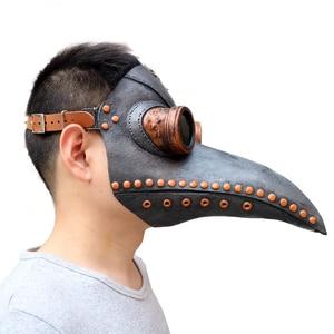 Image 2 - Hot Steampunk accessories Plague bird doctor latex mask Punk middeleeuws cosplay masks halloween costume for women men Adult