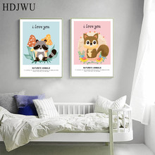 Nordic Art Home Decor Canvas Painting Cute Animal Flowers Printing Wall Poster for Living Room  DJ128