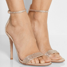 Lady Beige Suede Open Toe Rinestone Decorated Ankle Buckle Sexy High Heels Sandals font b Shoes