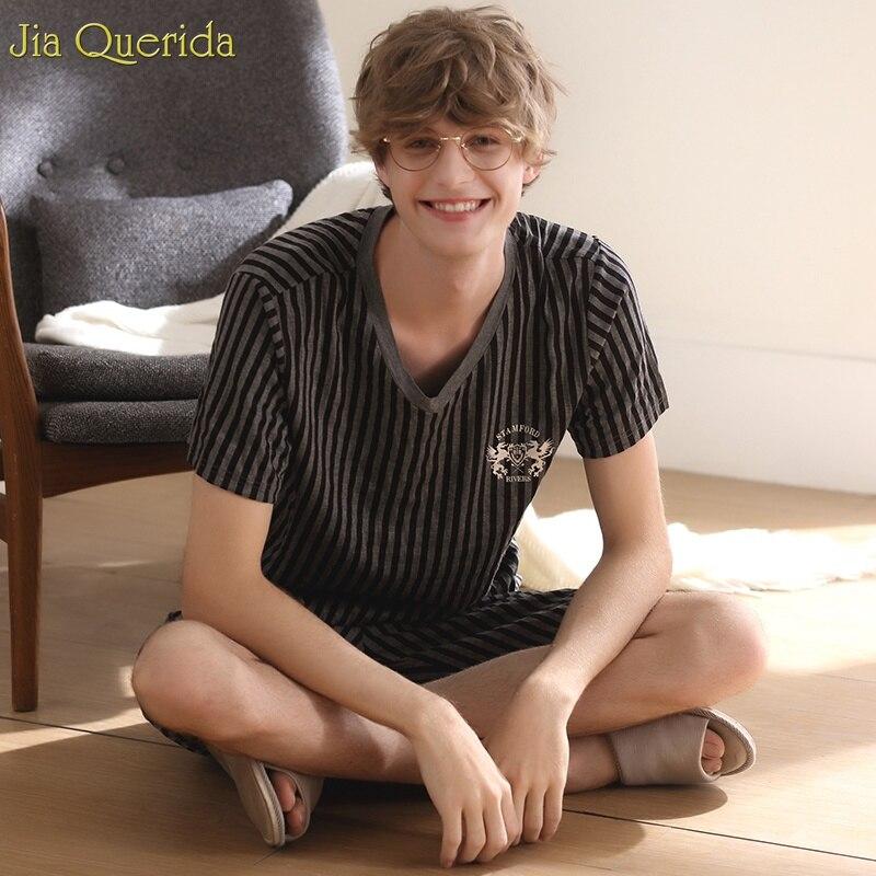 Men Sleepwear Pants Pajama-Set Short Stripe Summer Soft Modal Elastic Breathable Fashion