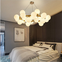Nordic Industrail Loft Chandeliers Round Ball Molecular Chandelier Light For Kitchen Gold Droplight Led Lustre Light Fixtures