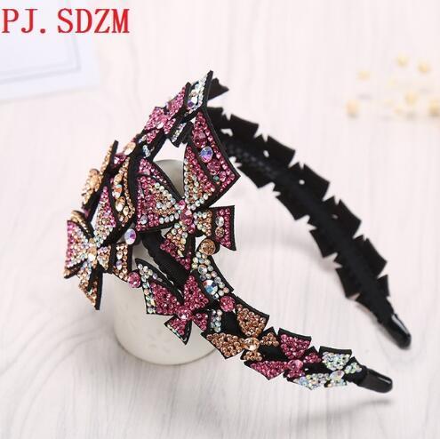 PJ.SDZM 3PCS/LOT Luxury Bow Knot Women Hair Accessories Wide Austrilia Crystal Elegant Hairband High Quality Hairwear For Gift