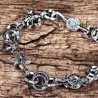 Pure S925 Sterling Silver Star Bracelet Domineering Man Vintage Handmade Anchor Link Bracelet