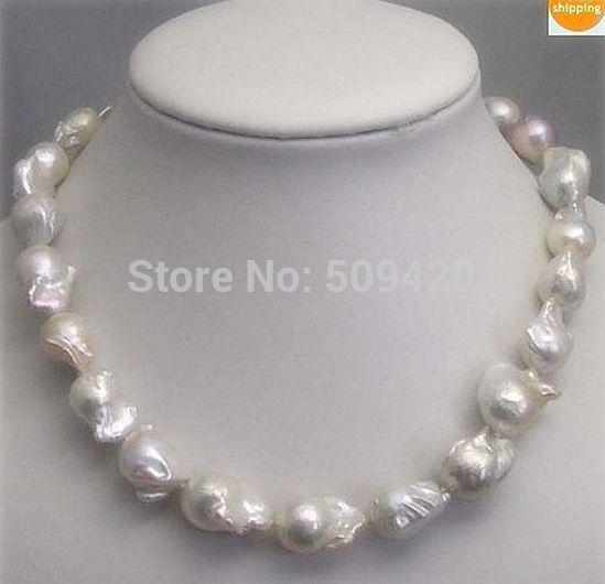 """Free Shipping ~~ W&O656 REAL HUGE SOUTH SEA WHITE BAROQUE PEARL NECKLACE 18"""" 14KGP"""