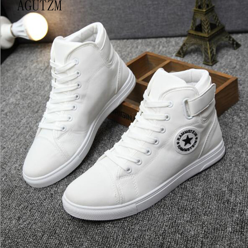 AGUTZM Men's Vulcanize Shoes Men Spring Autumn Top Fashion Sneakers Lace-up High Style Solid Colors Man Shoes Q93