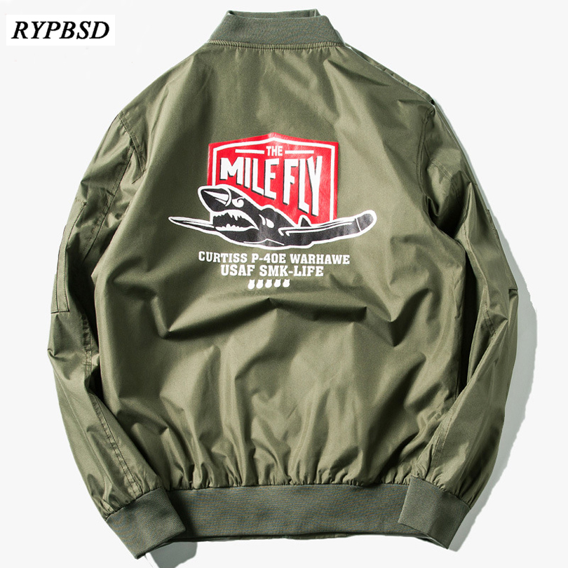 2017 New Men Bomber Jacket Hip Hop Letter Printed Slim Fit Pilot Bomber Jacket Coat Men  ...