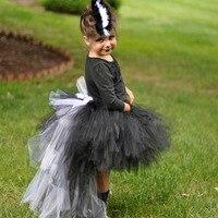 Ragazza Nero Bianco Fur Feather Trambusto Gonna In Tulle Tutu Dei Capretti Dei Bambini Di Compleanno Foto Prop Costume di Halloween Prestazioni Tutu Gonne