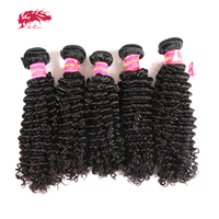 Ali Queen Hair Products Mongolian Afro Kinky Curly Human Hair Wholesales 10Pcs Lot Natural Color 100% Virgin Human Hair Bundles