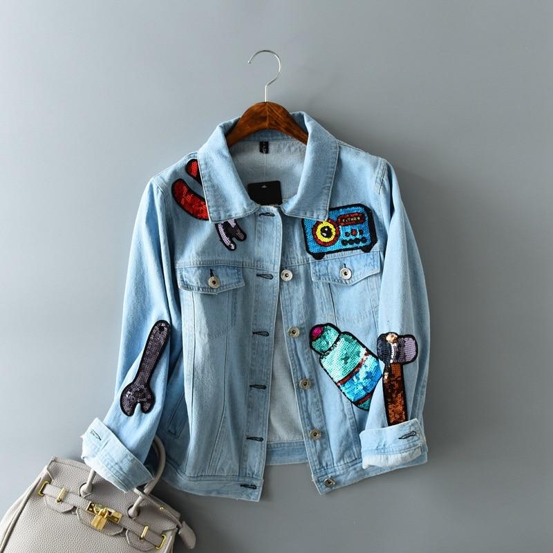 2018 New Harajuku Style Sequin Stitching Denim   Jacket   Women Retro Cotton Slim   Basic   Coats Cute Sweet Cartoon Denim   Jackets