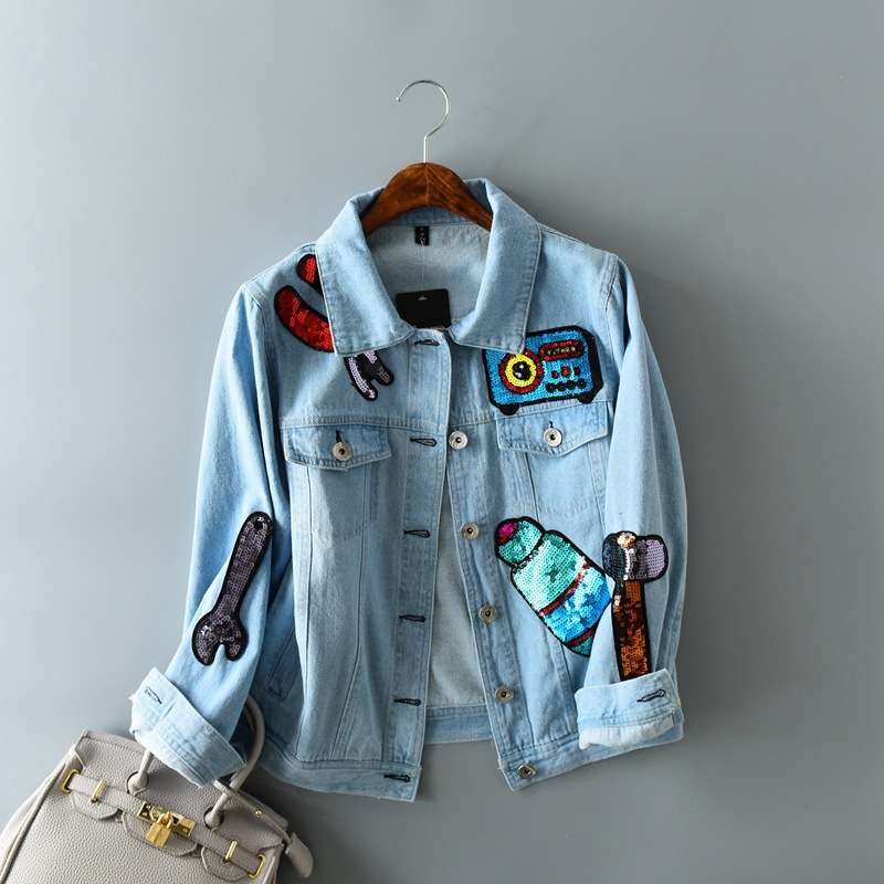 Harajuku Fashion Sequin Stitching Women Denim   Jacket   Retro Cotton Slim   Basic     Jacket   Coats Cute Sweet Cartoon Denim   Jackets