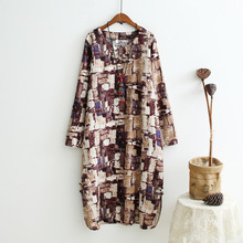 Chinese Style Ethnic Print Cotton Linen Dress Plate Buttons Women Dresses Loose Robe Femme Vintage Autumn Clothing