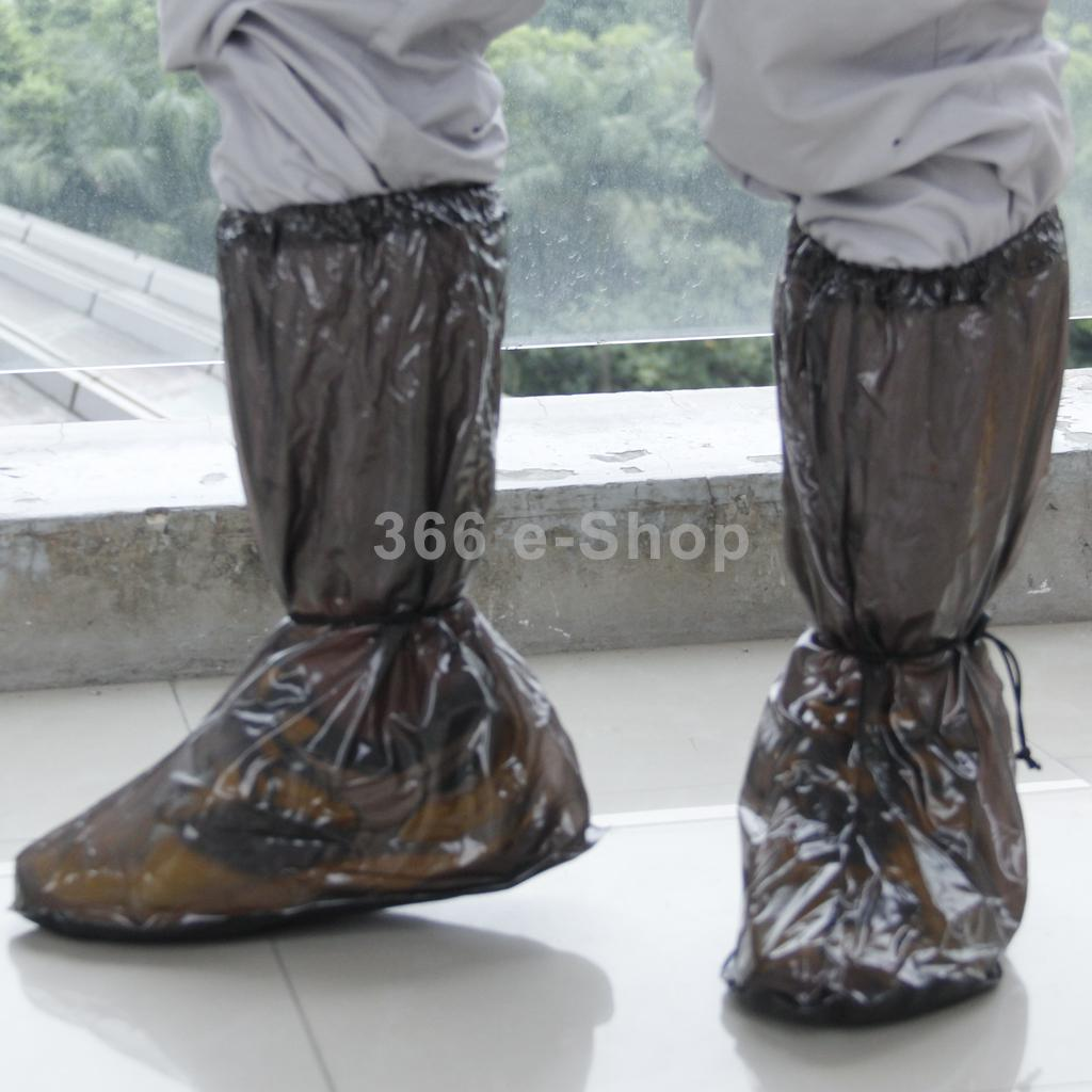 Pair Black Waterproof Rain Boot Shoe Cover with Reflector Anti-slip Motorcycle