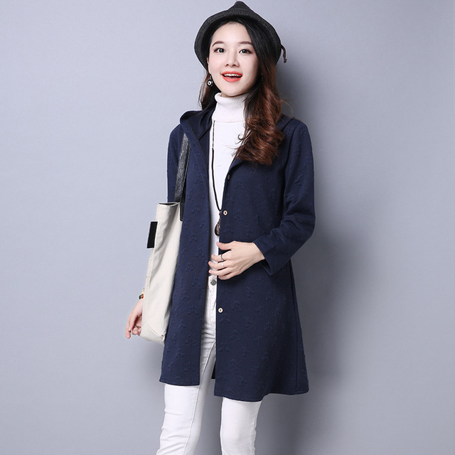 New Winter Embossed Coat Women Cotton Thick Solid Color Coat Oversized Long Red Blue Trench Coat Outerwear Warm Coat