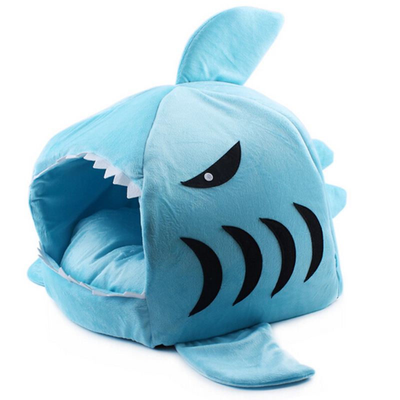 Hot Size S M Pet Products Warm Soft Dog House Pet Sleeping Bag Shark Dog Kennel Cat Bed  ...
