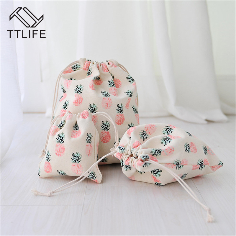 Ttlife Cotton Fruit Pineapple Printed Canvas Organizer Bag Cosmetic Bag Travel Clothing Storage Bag Drawstring Beam Make Up Box
