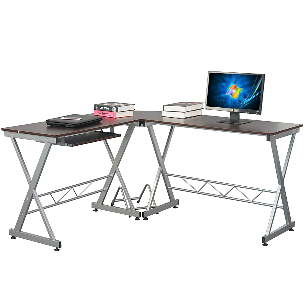 Utility Computer Desk L-Shaped Wooden Corner Writing Table Smooth Top Home Office Workstation Modern Study Laptop Desk Brown