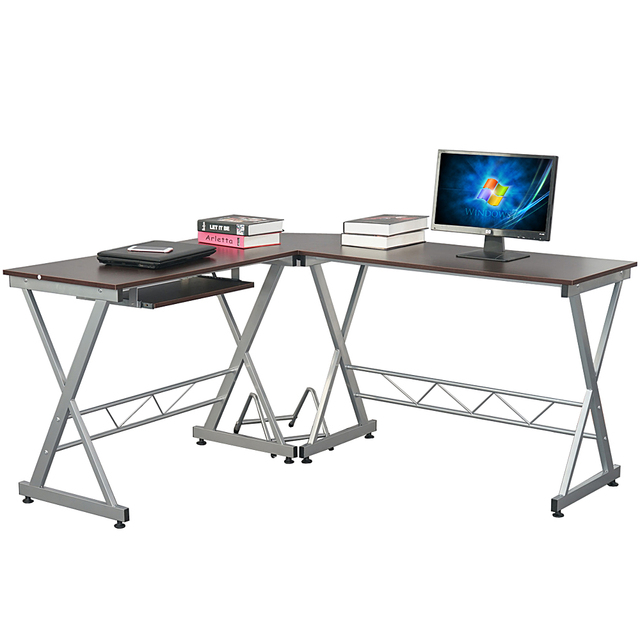 US $108.06  Utility Computer Desk L Shaped Wooden Corner Writing Table  Smooth Top Home Office Workstation Modern Study Laptop Desk Brown-in Laptop  ...