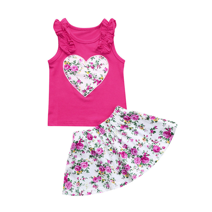 2018 Summer Girls Clothing Set Floral Heart T-shirt + Skirt Outfits Kids Clothes Girls Sports Suit For Children Set #0509 P5