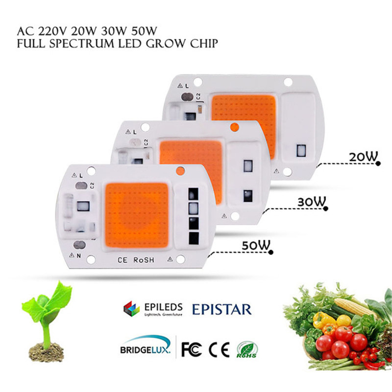 1pcs COB LED Grow Light Chip AC 220V 20W 30W 50W Full Spectrum Phyto Lamp 380nm-840nm For Indoor Garden Greenhouse LED Beads