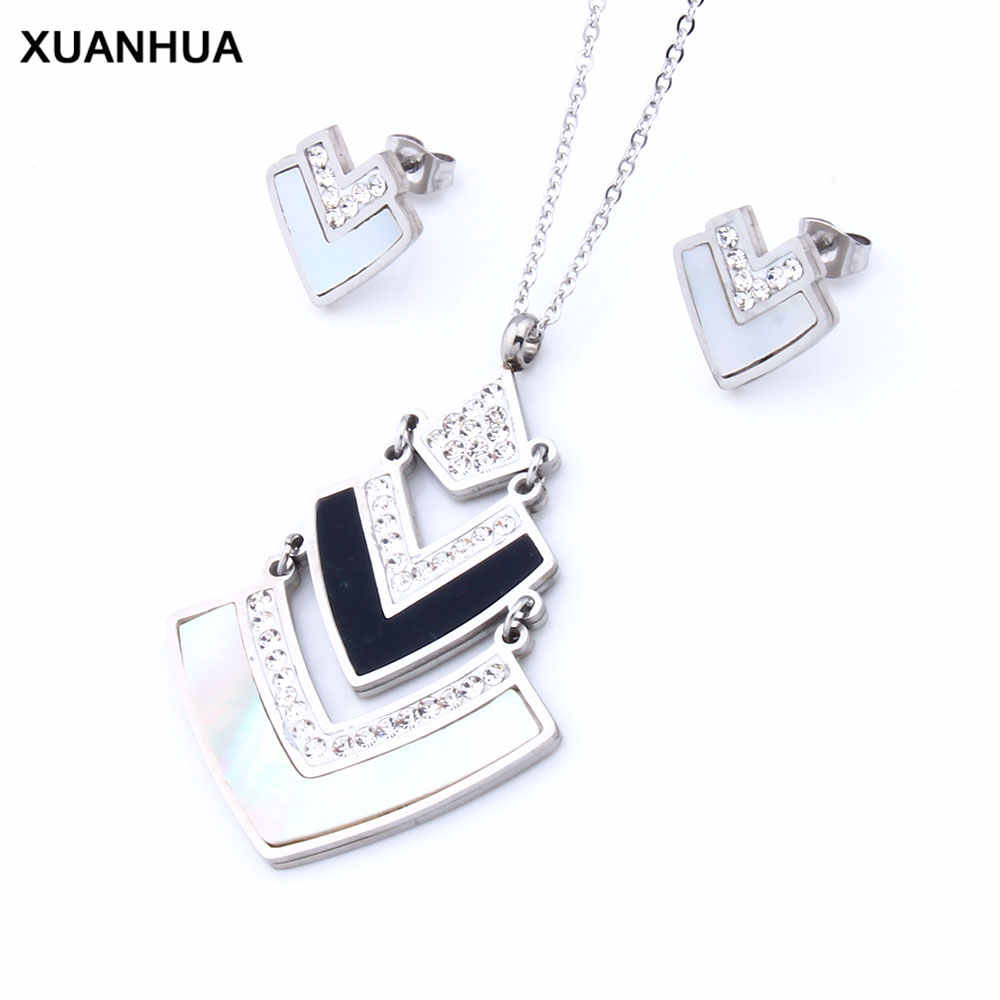 XUANHUA Stainless Steel Jewelry Sets For Women Shell African Fashion Luxury Gifts For Women Jewelry Set Bohemian Accessories
