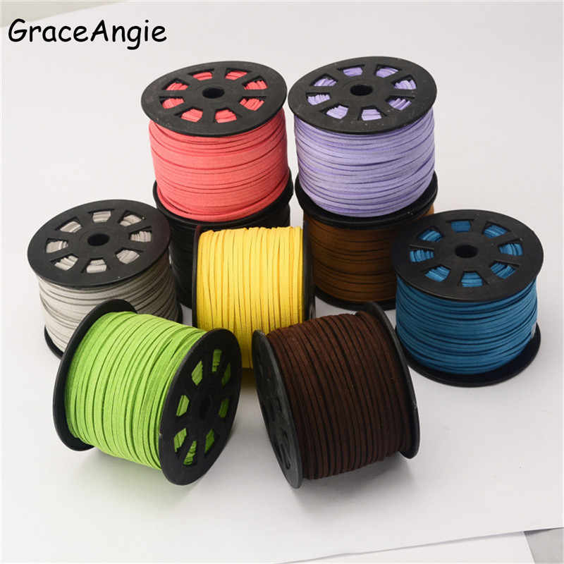 5Meter/Roll 2.6x1.5mm Flat Faux Suede Korean Velvet Leather Cord String Rope Lace Thread DIY Bracelet Necklace Jewelry Findings
