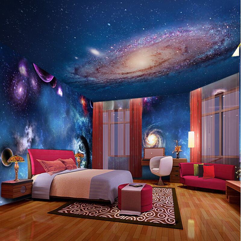 3d Wallpaper Mural Night Clouds Star Sky Wall Paper: Wallpaper 3D Stereoscopic Star Nebula Night Sky Ceiling
