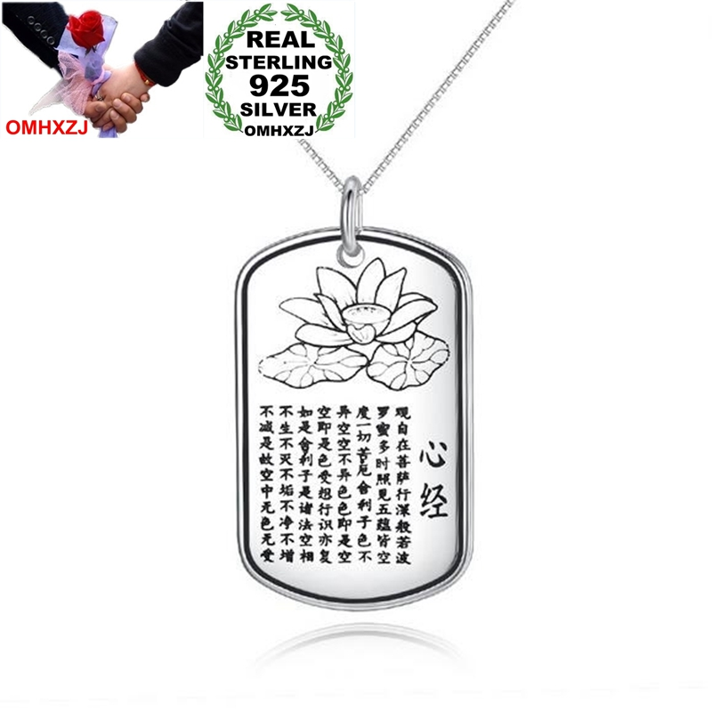 OMHXZJ Wholesale Fashion Lotus Heart Sutra Woman Man Gift 990 Sterling Silver Thai Silver Pendant Charms PE109 NO Chain Necklace