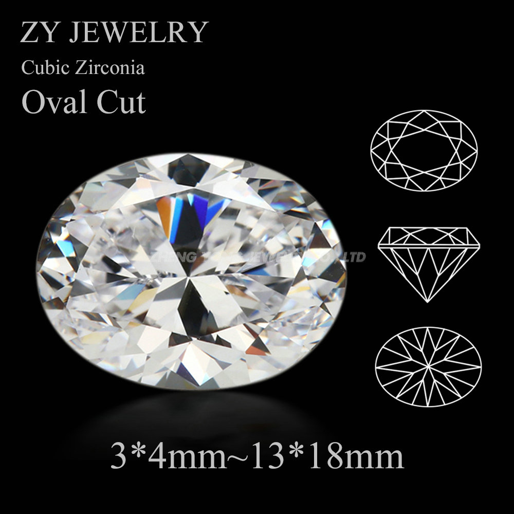 50pcs/lot 5A CZ Stone Oval shape White Cubic Zirconia 3*4mm~13*18mm Oval Cut Synthetic Gems For Jewelry