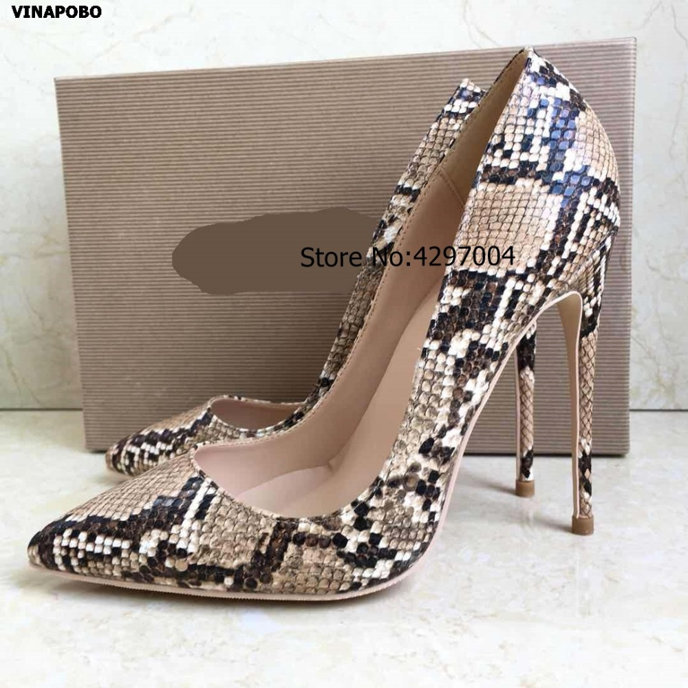 vinapobo 2019 Women s Pumps Pointed Toe yellow Snake print Women Shoes Sexy Stiletto Heel High