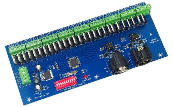 Venta al por mayor 1 piezas 27 canal DMX512 decodificador controlador led-in Controladores RGB from Luces e iluminación