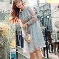 Vestido mulheres Outono Estilo Preppy Imprimir Manga Comprida Fique Neck Único Breasted Mulheres Outono Chiffon Do Joelho-Comprimento Coreano Vestido F6760