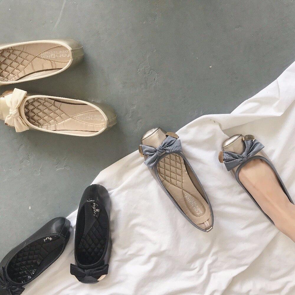 Bouche Profonde Casual De Plat Nouveau Pois argent La Noir Tête Version Coréenne Plates or Arc Chaussures Carrée Peu vxgY7qwgd