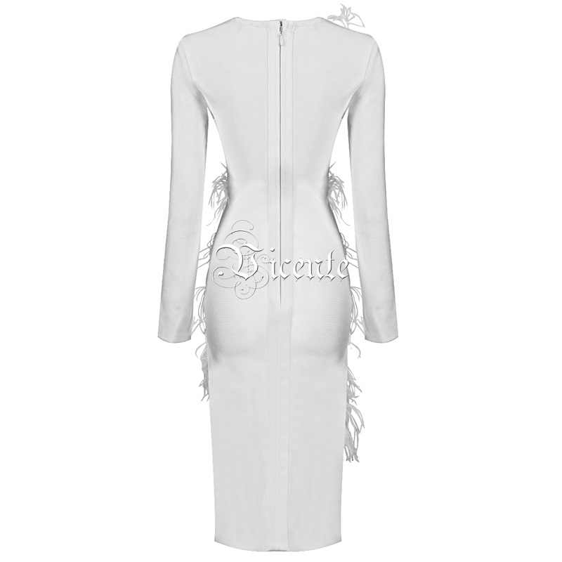 f2b76c1dfd89e Vicente 2019 New Chic White Dress Feather Design Long Sleeves Waist Hollow  Out Celebrity Party Club Bandage Midi Dress