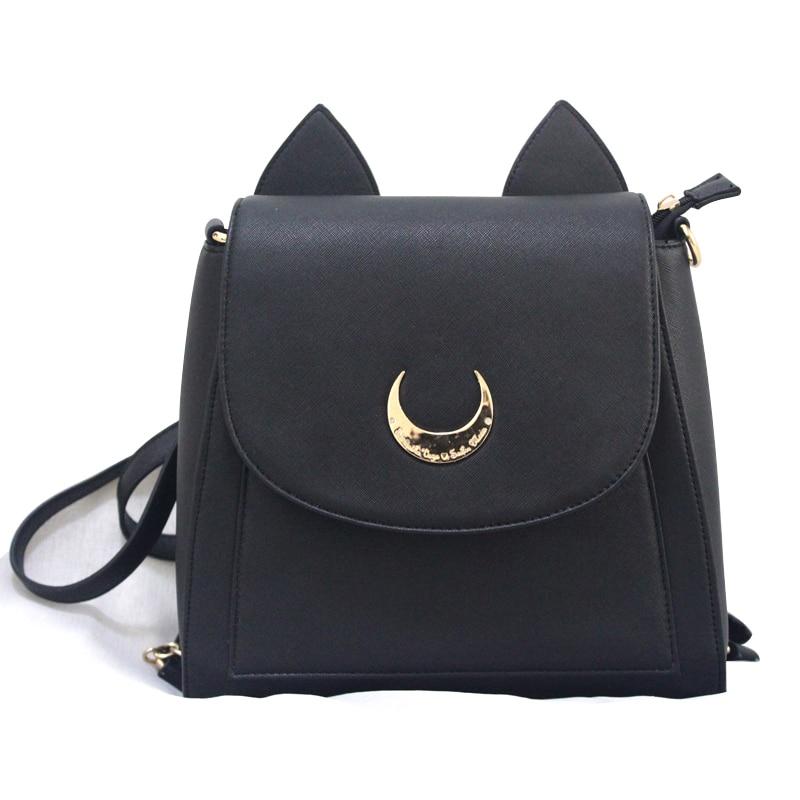Été limité marin lune sac à dos mignon pli chat sac à bandoulière sacs d'école pour adolescente filles livre sac Mochila métal lune