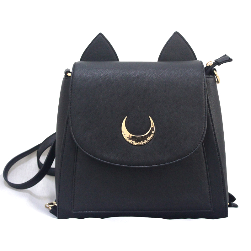 Summer Limited Sailor Moon Backpack Cute Fold Cat Shoulder Bag School Bags For Teenager Girls Book Bag Mochila Metal Moon