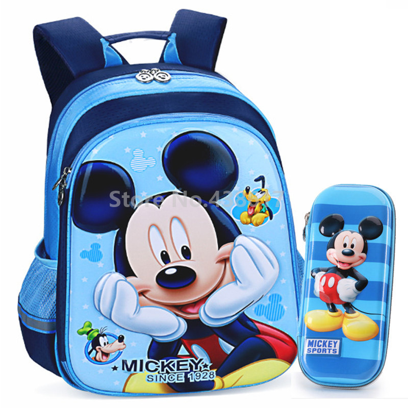 Cute 3D Blue Mickey Backpack School Bag With Pencil Case Set For Kids Children Elementary Primary