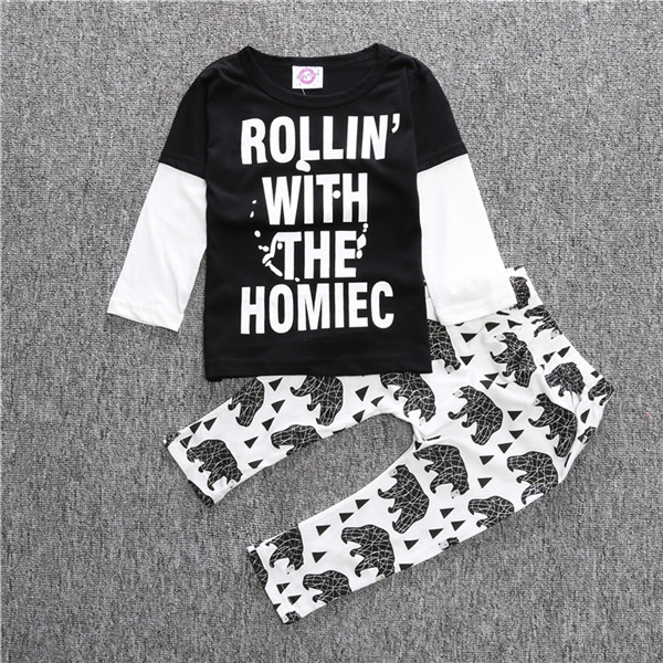 2017 Nya barnkläder Set Barn Boys Långärmad tröja + Byxor 2 st - Babykläder